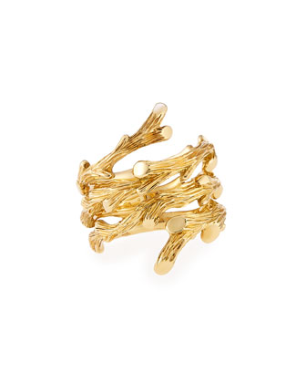 18k Gold Twig Spiral Ring, Size 7