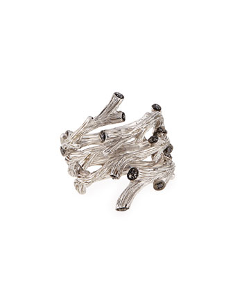 Twig Spiral Ring with Black Diamonds, Size 7