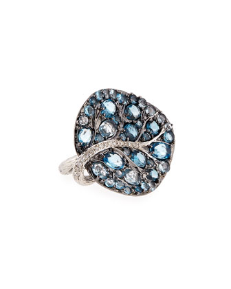 Botanical Leaf Blue Topaz Ring with Diamonds, Size 7
