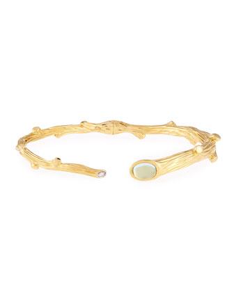 18k Twig Bracelet with Diamond and Blue Topaz