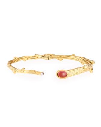 18k Twig Bracelet with Diamond and Pink Tourmaline