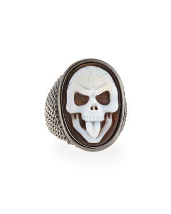 Thimble Skull Tongue Cameo Ring, Size 7