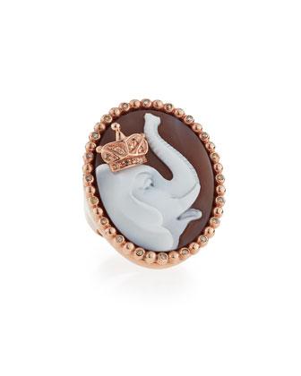 Royal Sardonyx Elephant Ring with Brown Diamonds, Size 7