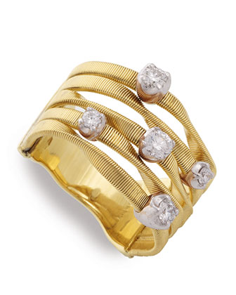 Marrakech Couture Five-Strand Diamond Ring, Size 7
