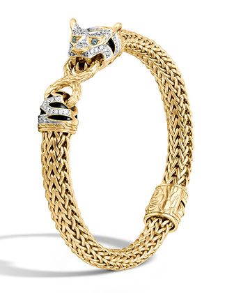 Classic Chain 18k Medium Diamond Macan Bracelet