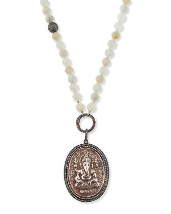 Moonstone Ganesh Pendant Necklace with Diamonds