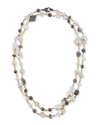 Mixed Stone and Diamond Beaded Necklace, 44