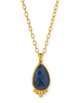 Elements Rose-Cut Blue Sapphire Pendant Necklace