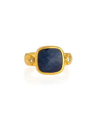 Elements 24k Gold Constantine Sapphire & Diamond Ring, Size 6.5