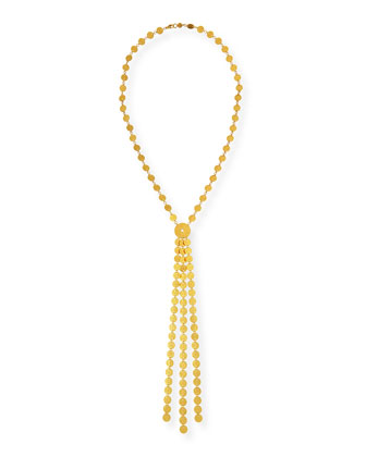 Lush 24k Gold Large Lariat Diamond Necklace