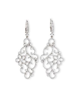 18k White Gold Diamond Garland Earrings