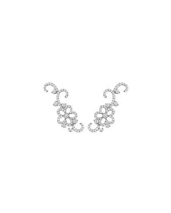 18k White Gold Diamond Garland Pin Earrings