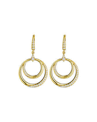 18k Gold Diamond Double-Crescent Earrings