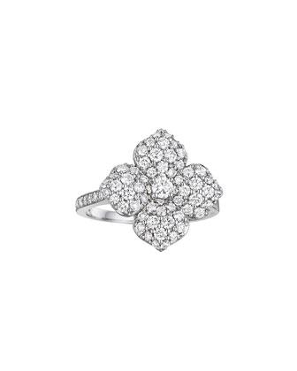 18k White Gold Pavé Diamond Flower Ring, Size 6