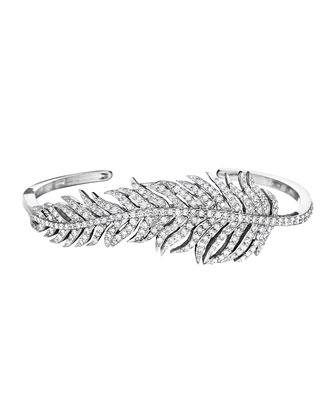 18k White Gold Pavé Diamond Feather Bangle