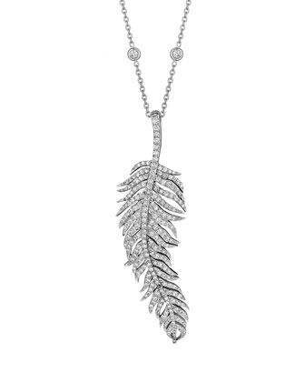Pavé Diamond Feather Pendant Necklace