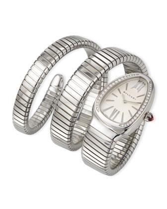 35mm Serpenti Tubogas Diamond Watch, Steel