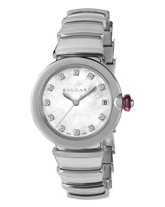 33mm LVCEA Watch with Diamonds, Steel