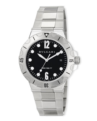 41mm Diagono Scuba Stainless Steel Watch, Black Dial