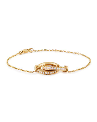 18K Gold Pavé Diamond Handcuff Chain Bracelet