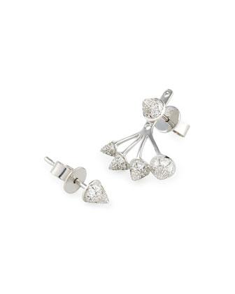 18K White Gold Diamond Spike Stud & Jacket Earrings