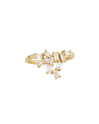 18K Gold Baguette Diamond Cluster Knuckle Ring, 0.42tcw