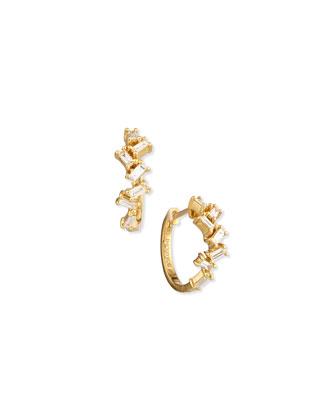 18K Yellow Gold Baguette Diamond Huggie Earrings