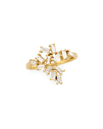 18K Gold Baguette Diamond Cluster Knuckle Ring, 0.70tcw