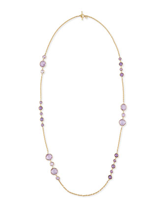 Gossip 18K Gold Amethyst Station Necklace, 36