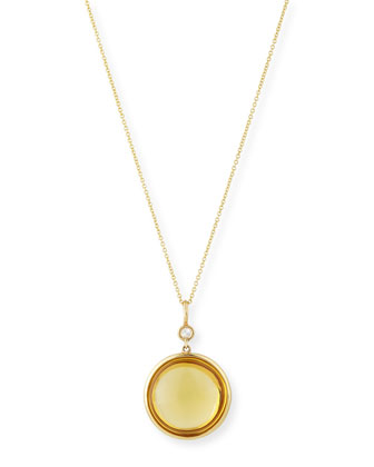 Mischief 18K Gold Citrine Cabochon Pendant Necklace