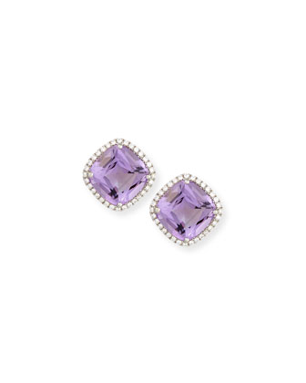 Gossip Amethyst & Diamond Button Earrings