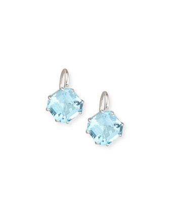 Gossip Emerald-Cut Blue Topaz Earrings