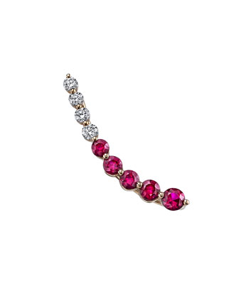 18K Rose Gold Diamond & Ruby Ear Climber