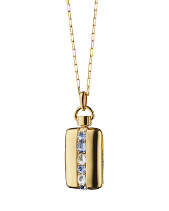 18K Gold Blue Sapphire & Rock Crystal Striped Locket Necklace