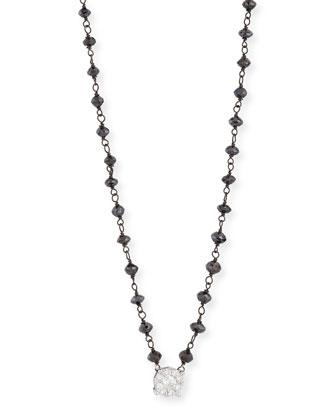 Diamond Pendant Necklace w/Black Diamond Beads