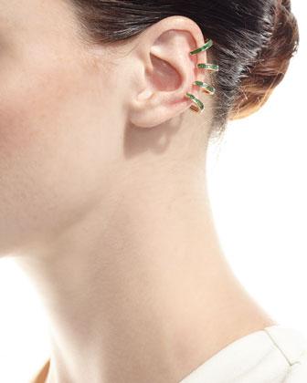 18K Gold Emerald Baguette Ear Cuff