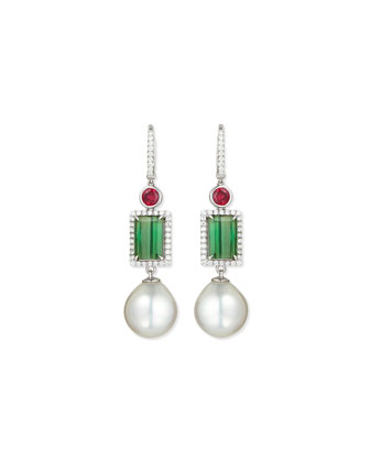 18K White Gold Ruby, Green Tourmaline & Pearl Earrings