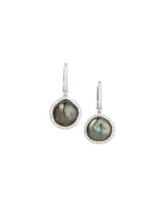 Tahitian Pearl & Diamond Drop Earrings