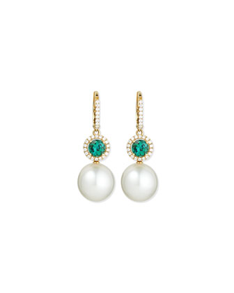 Dangling South Sea Pearl & Green Tourmaline Earrings