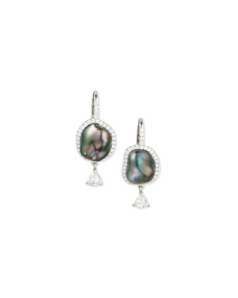 18K White Gold Tahitian Pearl & Diamond Earrings