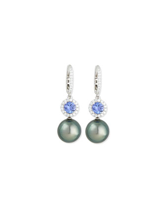 Dangling South Sea Pearl & Blue Tanzanite Earrings