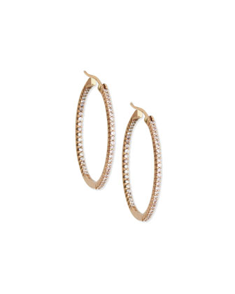 14K Rose-Gold Pink Diamond Hoop Earrings