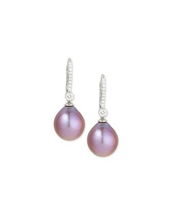 Pink Pearl & Pavé Diamond Drop Earrings