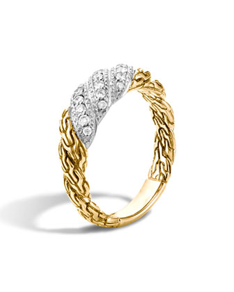Small Classic Chain Twisted Diamond Ring, Size 7