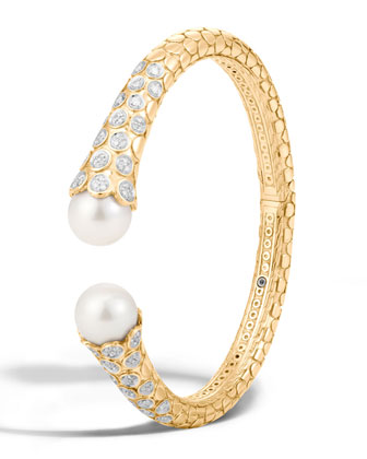 Dot Medium 18K Diamond & Pearl Kick Cuff Bracelet