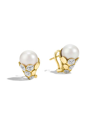 Dot 18K Gold Pearl & Diamond Earrings