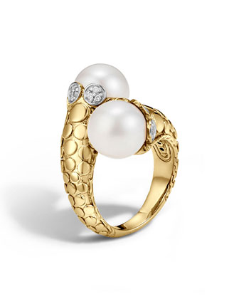 Dot 18K Gold Diamond & Pearl Toi Moi Ring, Size 7