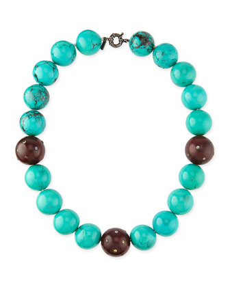 Valhalla Mixed Turquoise & Wood Bead Necklace