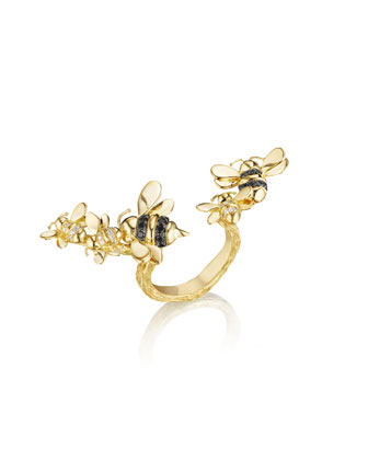 Wonderland 18K Gold Open-Shank Bee Ring, Size 6