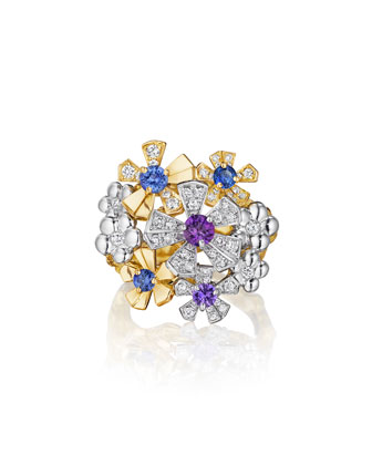 Wonderland Pow Orchid Cluster Ring, Size 6.5